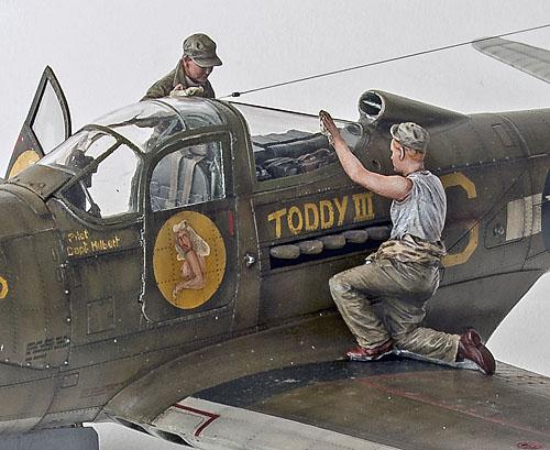 Figurines de pilotes et de mécaniciens ww2 + maquettes d'avions 18040401095414703415650411