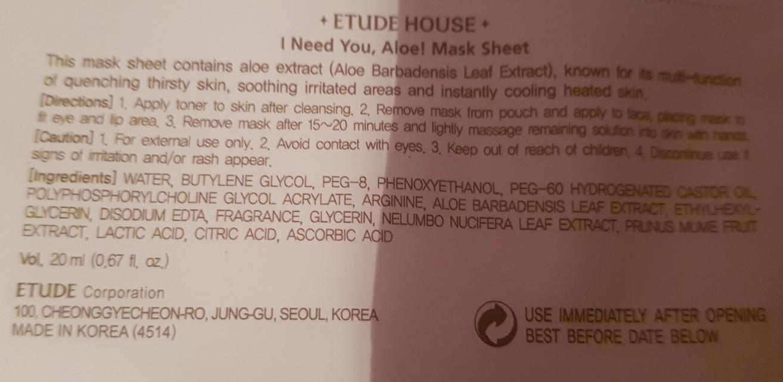 ingrédients masque aloé etude house