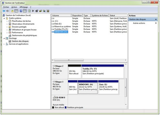 Gestion disques PC fixe