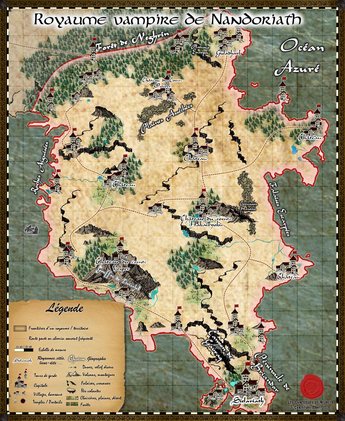 Carte du royaume de Nandoriath 18091312450823817215890047