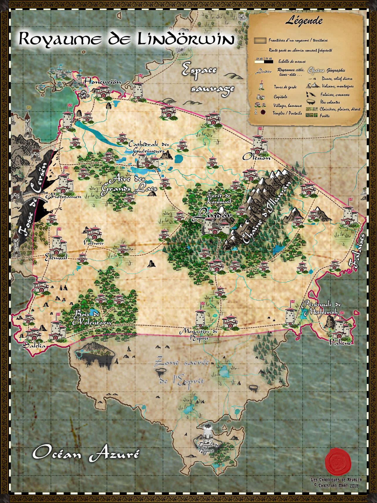 Carte du royaume de Lindörwin 18091312452623817215890049