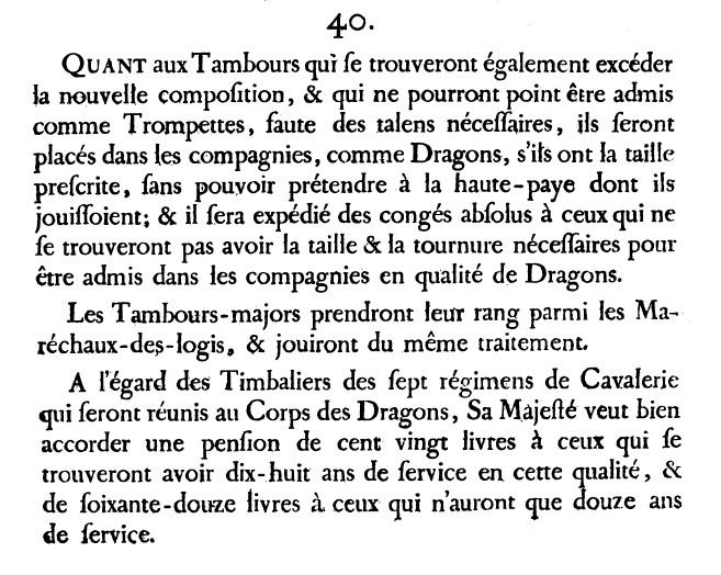 1776 suppression des tambours de dragons.
