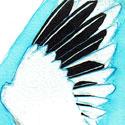 Challenge Inktober Oiseau endémique de la Réunion Encre turquoise, encre de chine