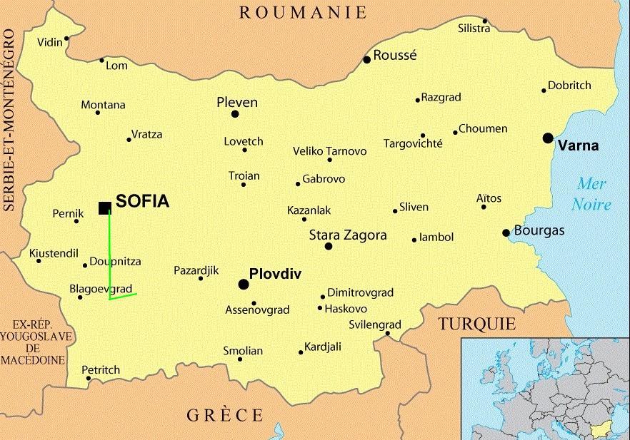 Bulgarie carte Sophia
