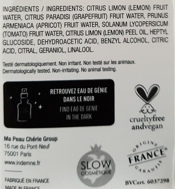 ingrédients eau de génie