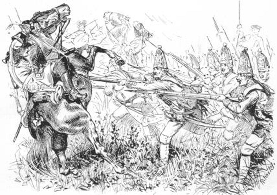cheval cabre contre infanterie