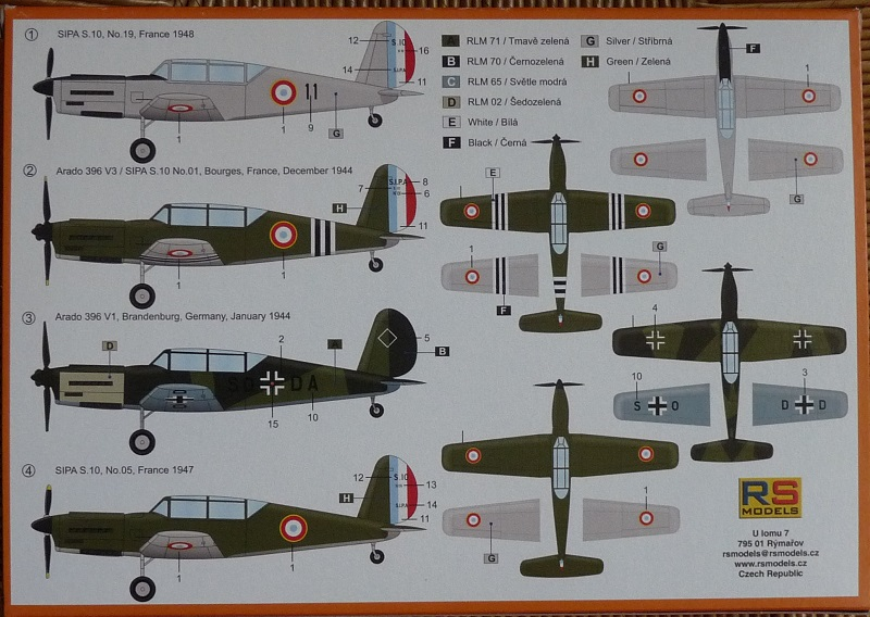 SIPA S.10/ Arado Ar-396  RS models 1/72 1908101234355669816351775