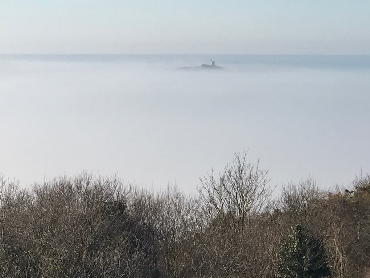 St Michel islet in the mist (seen from Sables d'or)