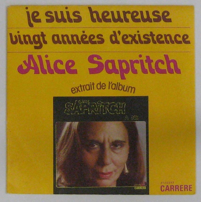 SAPRITCH ALICE - Je suis heureuse - 45T (SP 2 titres)