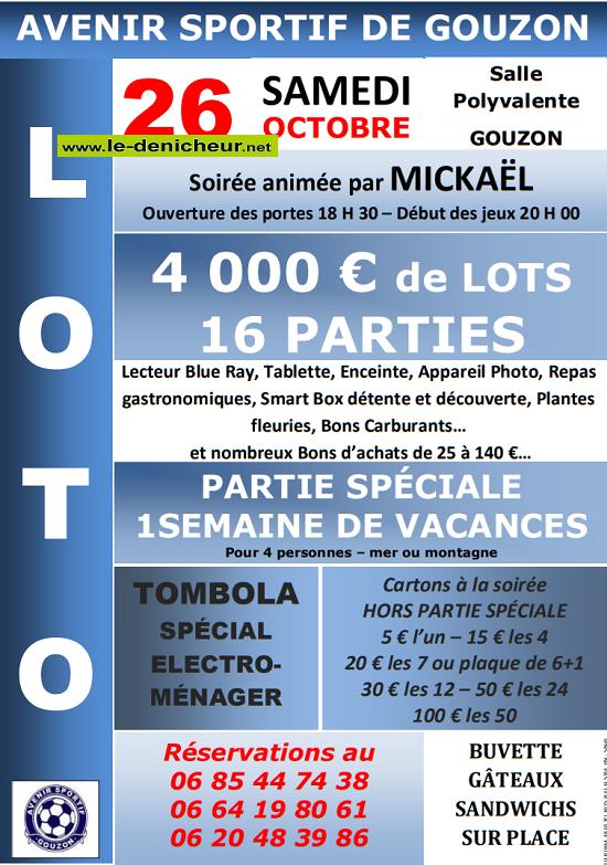v26 - SAM 26 octobre - GOUZON (23) - Loto de l'Avenir Sportif */ 1910041038086431216442690