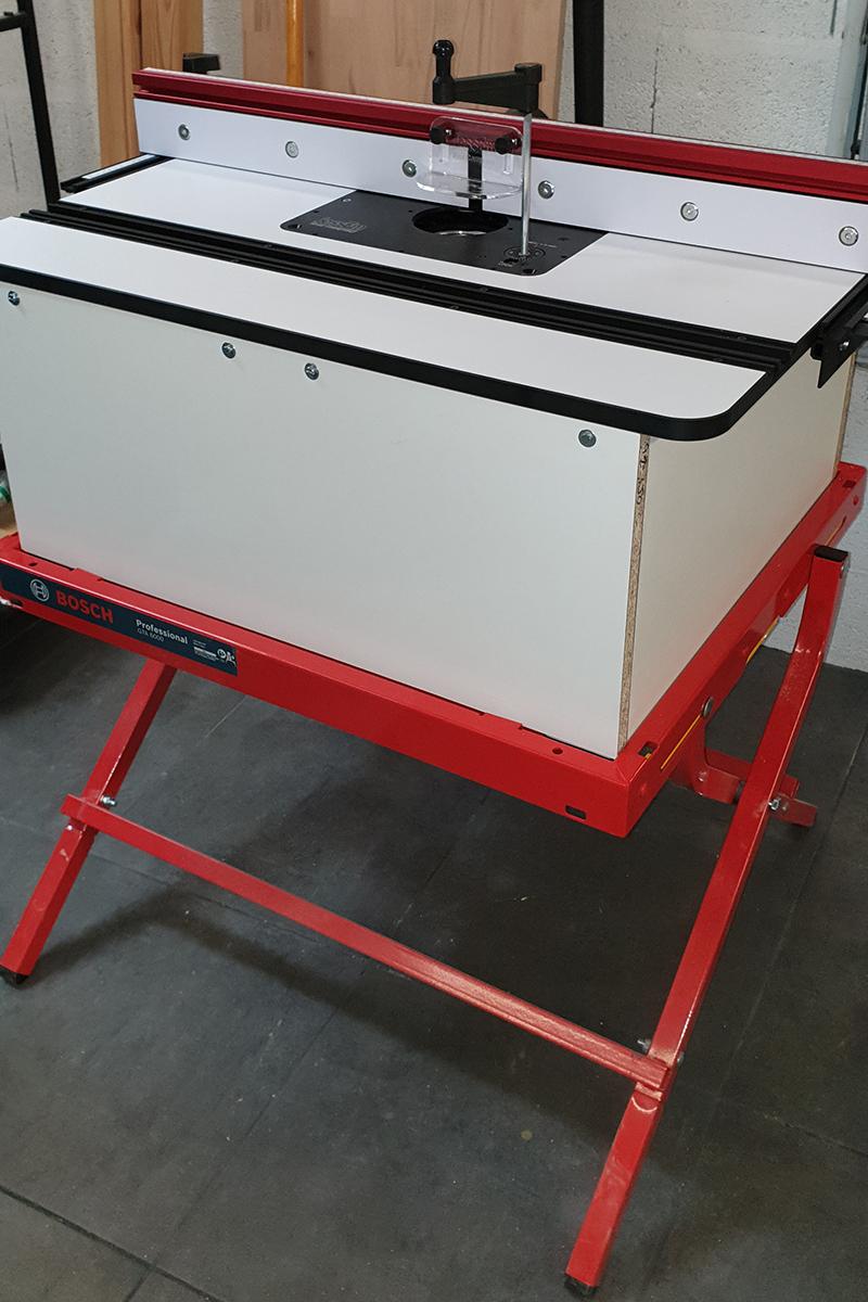 Festool OF1400 sous table, système JessEm monté sur support Bosch 19120803301424320016546576