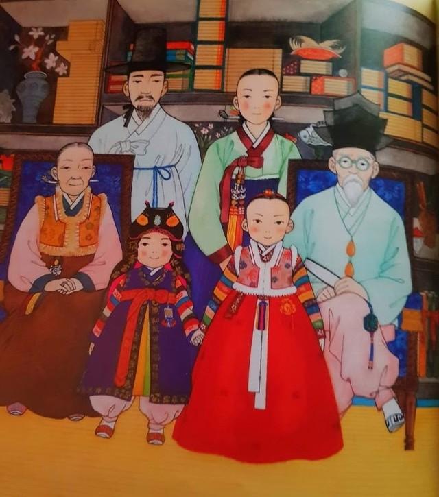 famille coréenne en habit de nouvel an