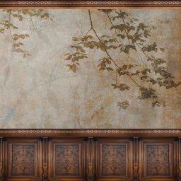 Mur bois et papier peint no1