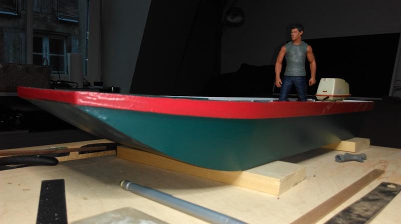 Remorque porte bateau et sa plate (Barque à fond plat). 2004040355512281116724703