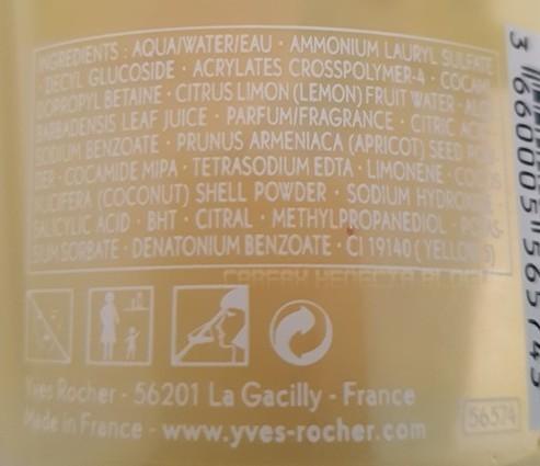 ingrédients gel douche yves rocher
