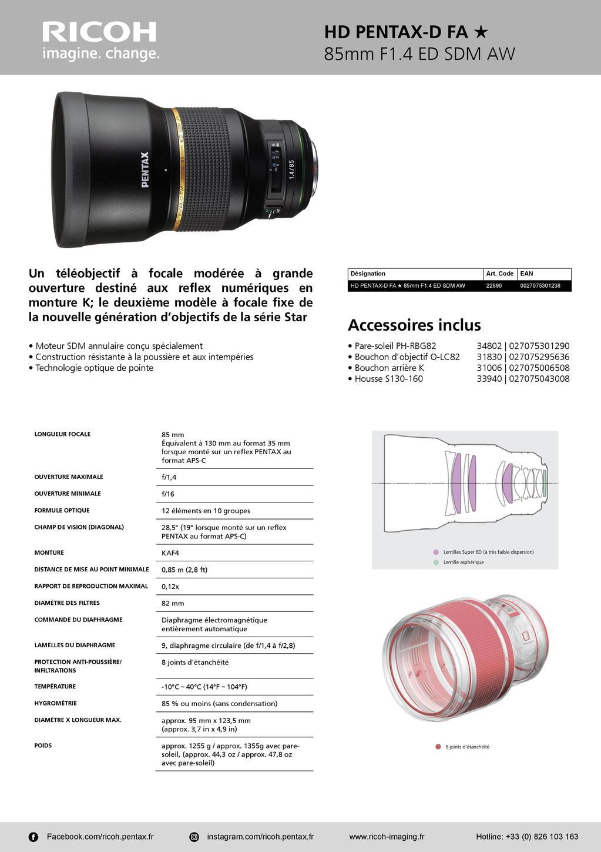 PENTAX RICOH IMAGING - Communiqué de presse DFA* 85mm F1.4 ED SDM AW 20052803502923142216816141