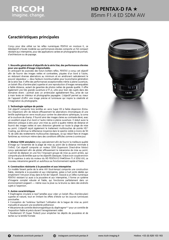 PENTAX RICOH IMAGING - Communiqué de presse DFA* 85mm F1.4 ED SDM AW 20052803502923142216816142