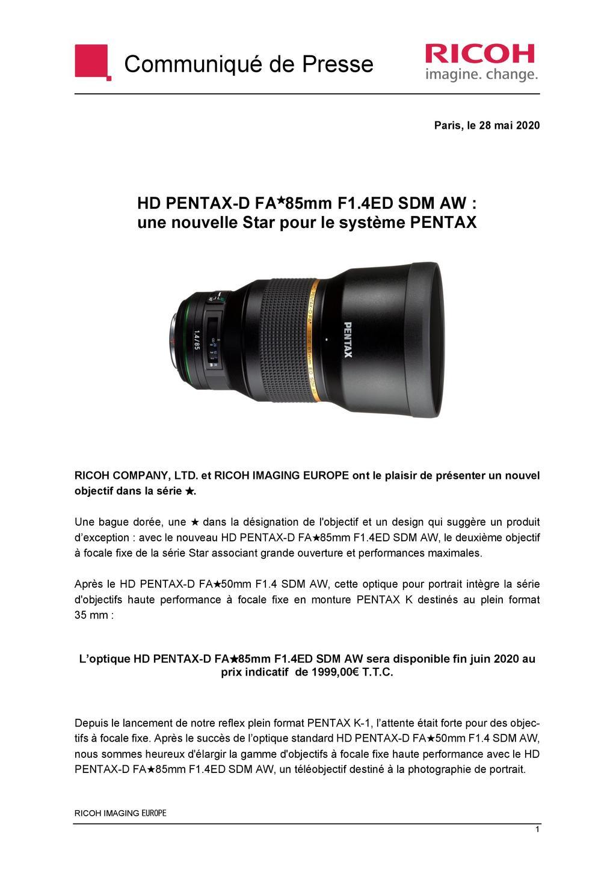 PENTAX RICOH IMAGING - Communiqué de presse DFA* 85mm F1.4 ED SDM AW 20052803502923142216816143
