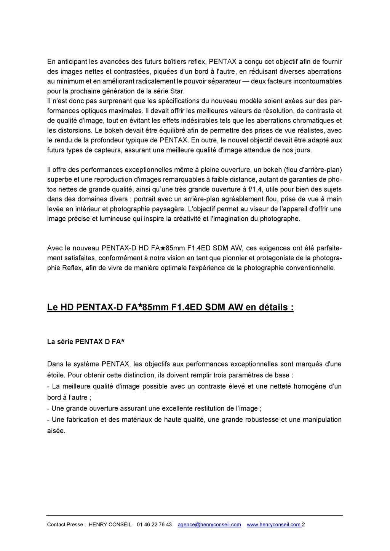 PENTAX RICOH IMAGING - Communiqué de presse DFA* 85mm F1.4 ED SDM AW 20052803503023142216816144