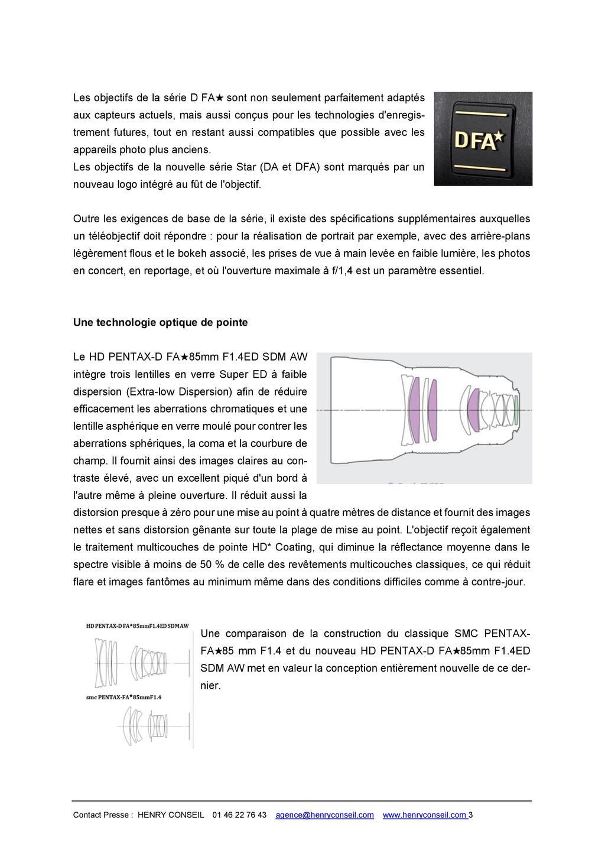 PENTAX RICOH IMAGING - Communiqué de presse DFA* 85mm F1.4 ED SDM AW 20052803503123142216816145
