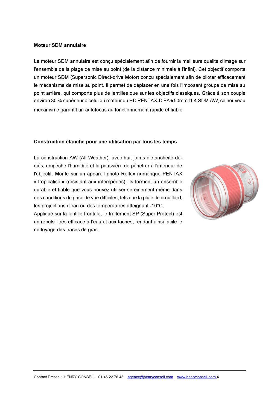 PENTAX RICOH IMAGING - Communiqué de presse DFA* 85mm F1.4 ED SDM AW 20052803503123142216816146