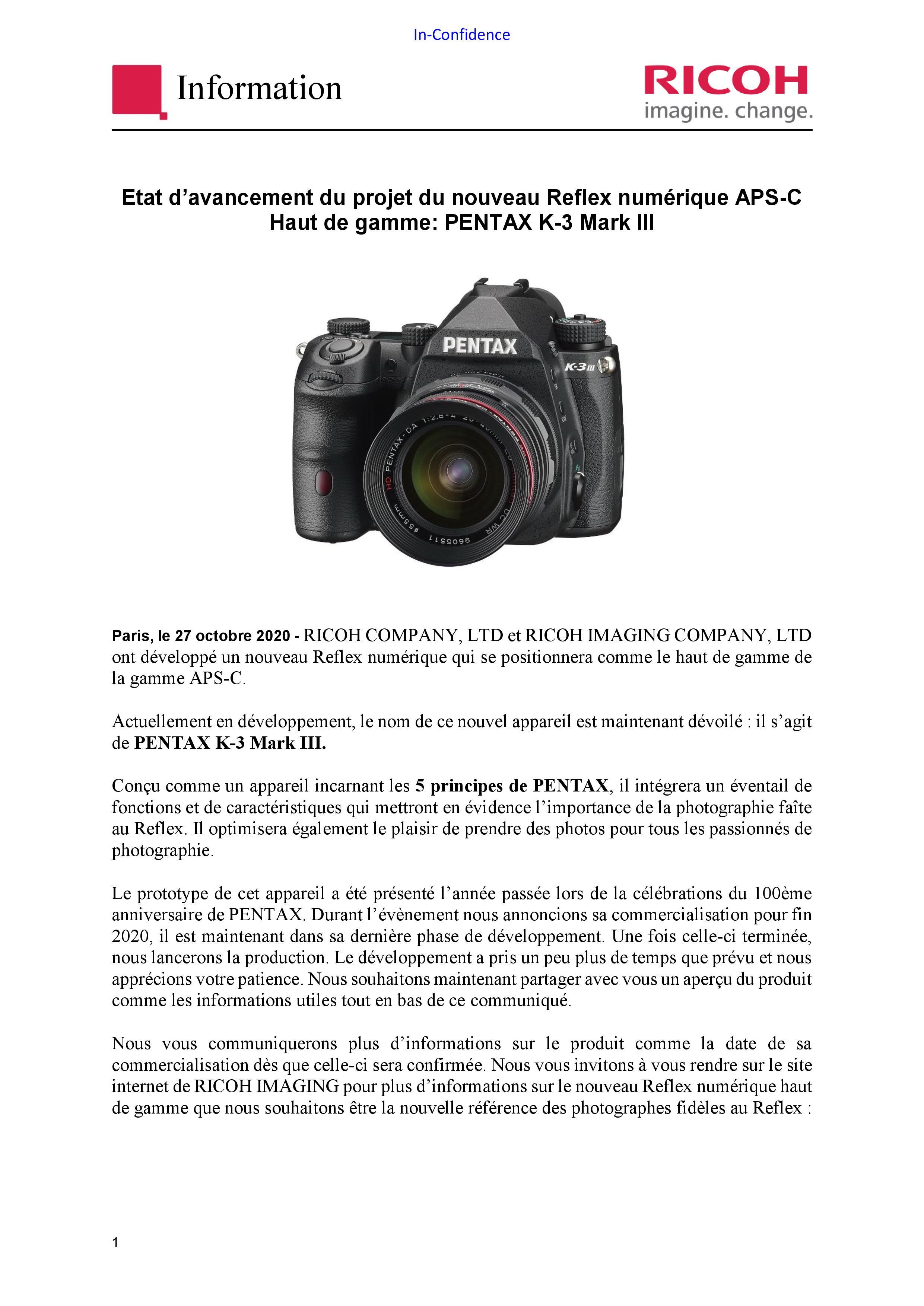 RICOH PENTAX Informations nouveau boîtier APS_C 20110404421523142217109634