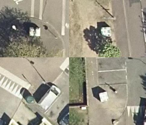 photomontage de 4 photos aériennes de silos à verre
