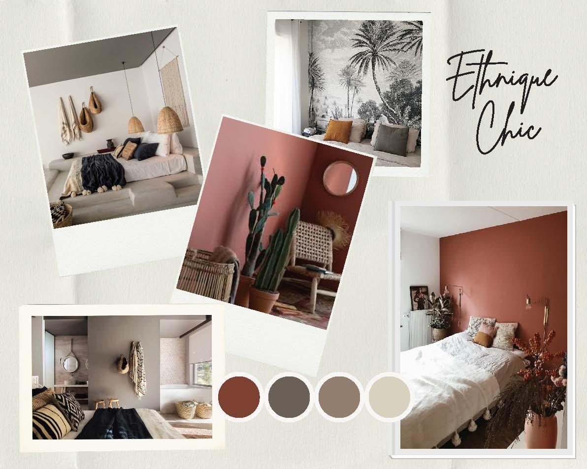 Moodboard ethnique chic pour la chambre décoration et ménagement d'appartement pour location meublée