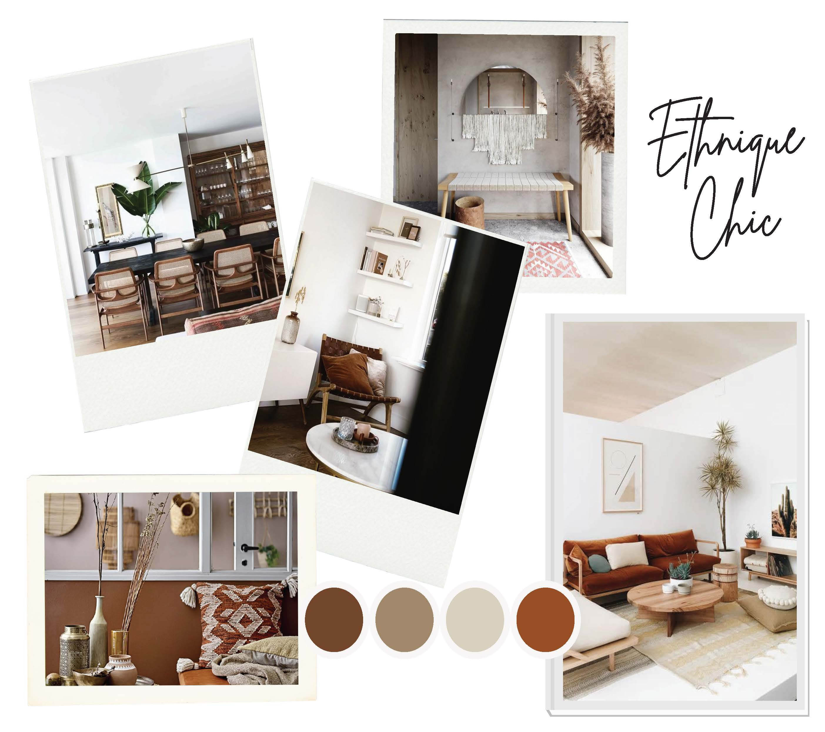 Moodboard ethnique chic décoration et ménagement d'appartement pour location meublée