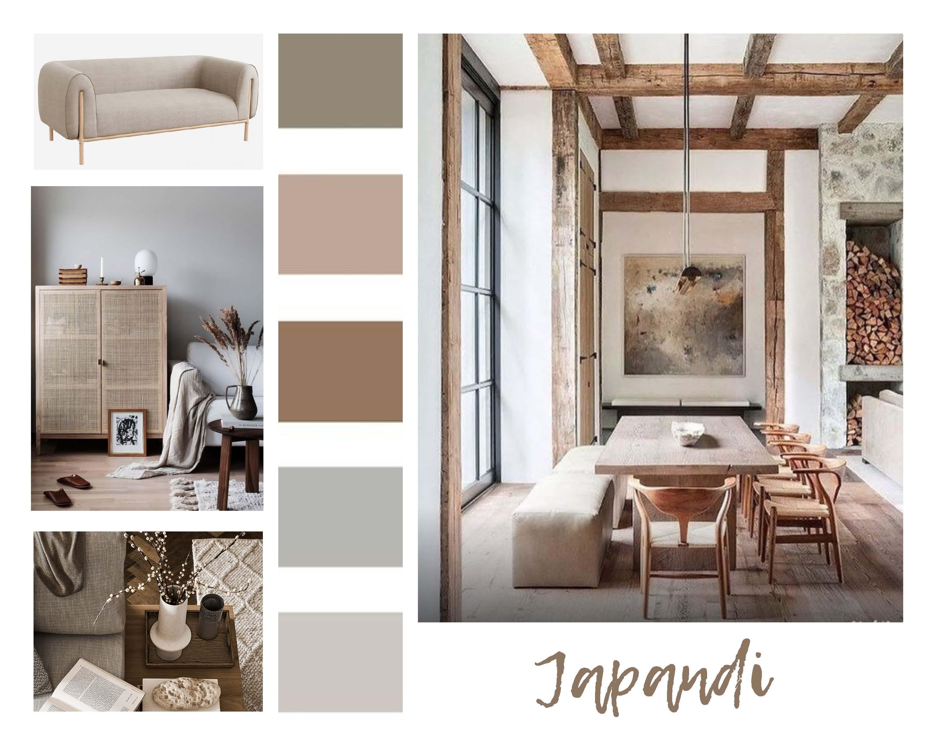 Décoration d'intérieur pour location meublée moodboard Japandi