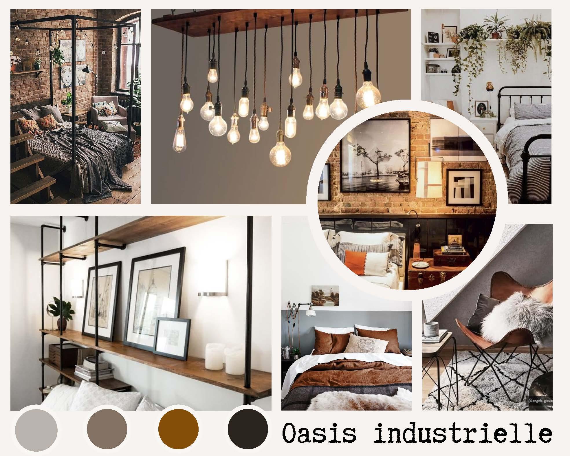 chambre décoration industrielle chic pour colocation, location meublée, aibnb, lmnp lmp