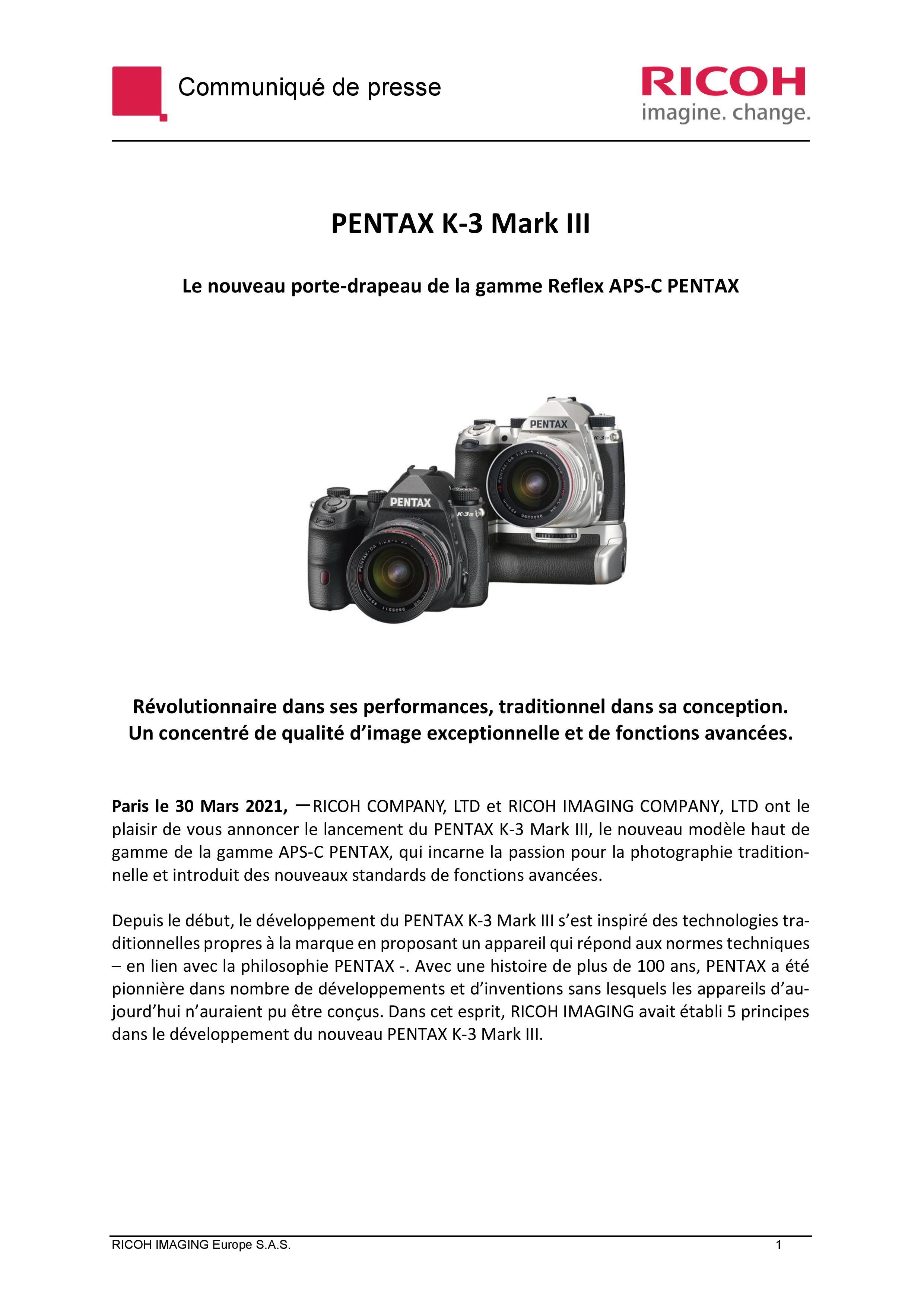 PENTAX RICOH IMAGING - Communiqué de presse du K3 Mark III 21033103121923142217344182