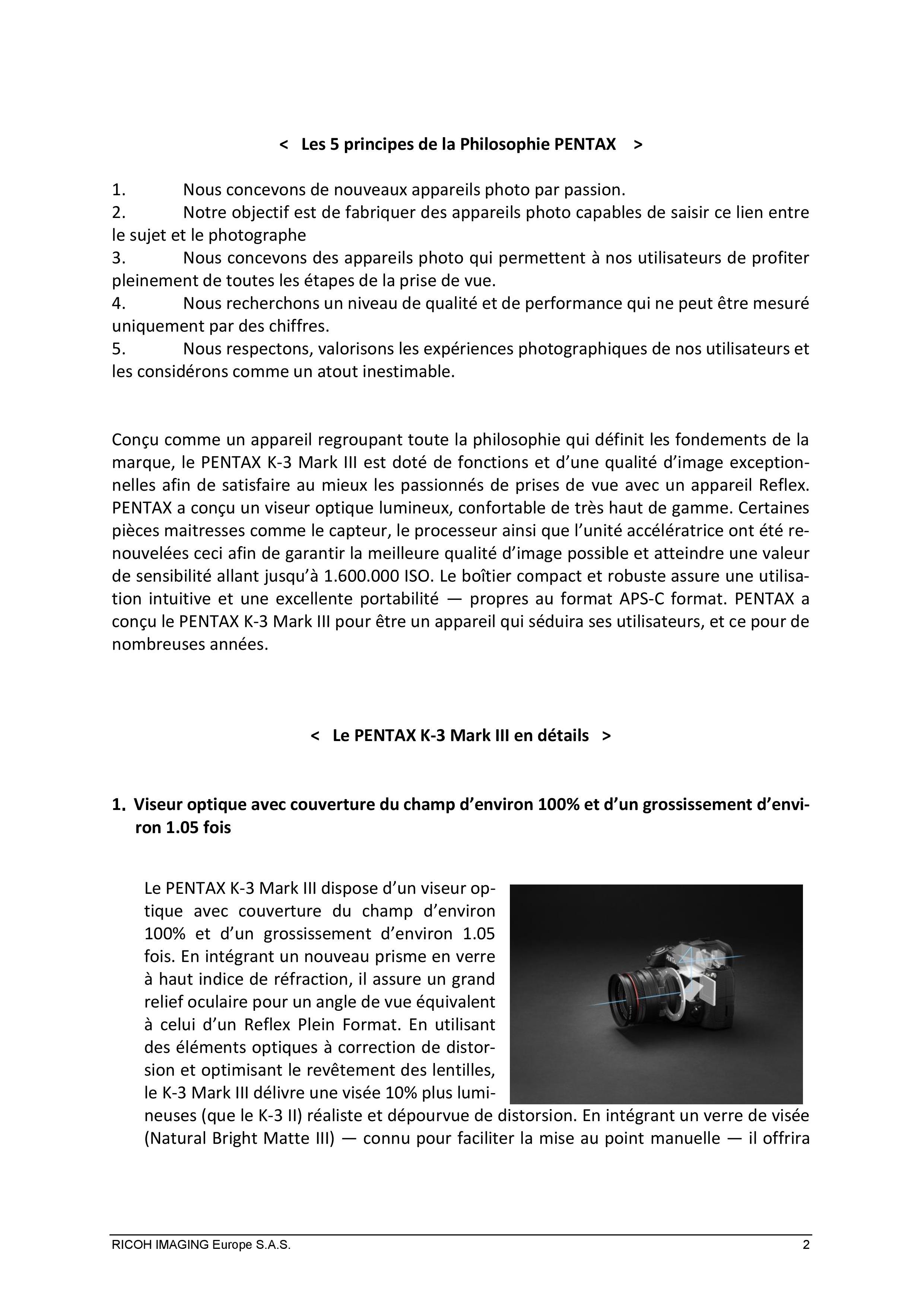 PENTAX RICOH IMAGING - Communiqué de presse du K3 Mark III 21033103133323142217344183
