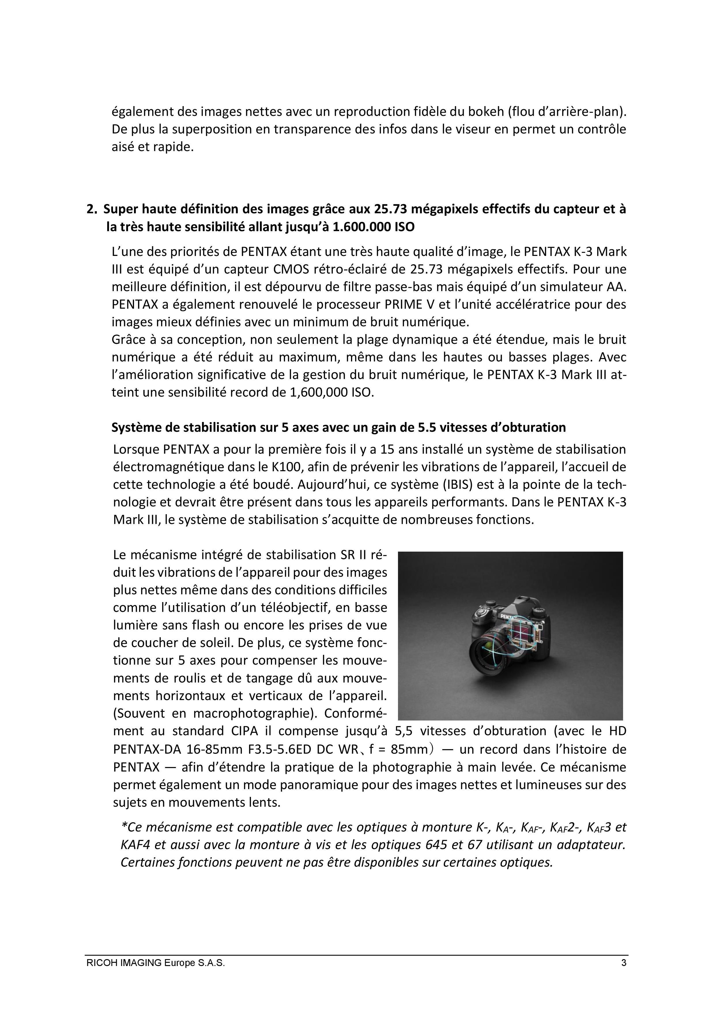 PENTAX RICOH IMAGING - Communiqué de presse du K3 Mark III 21033103135723142217344184