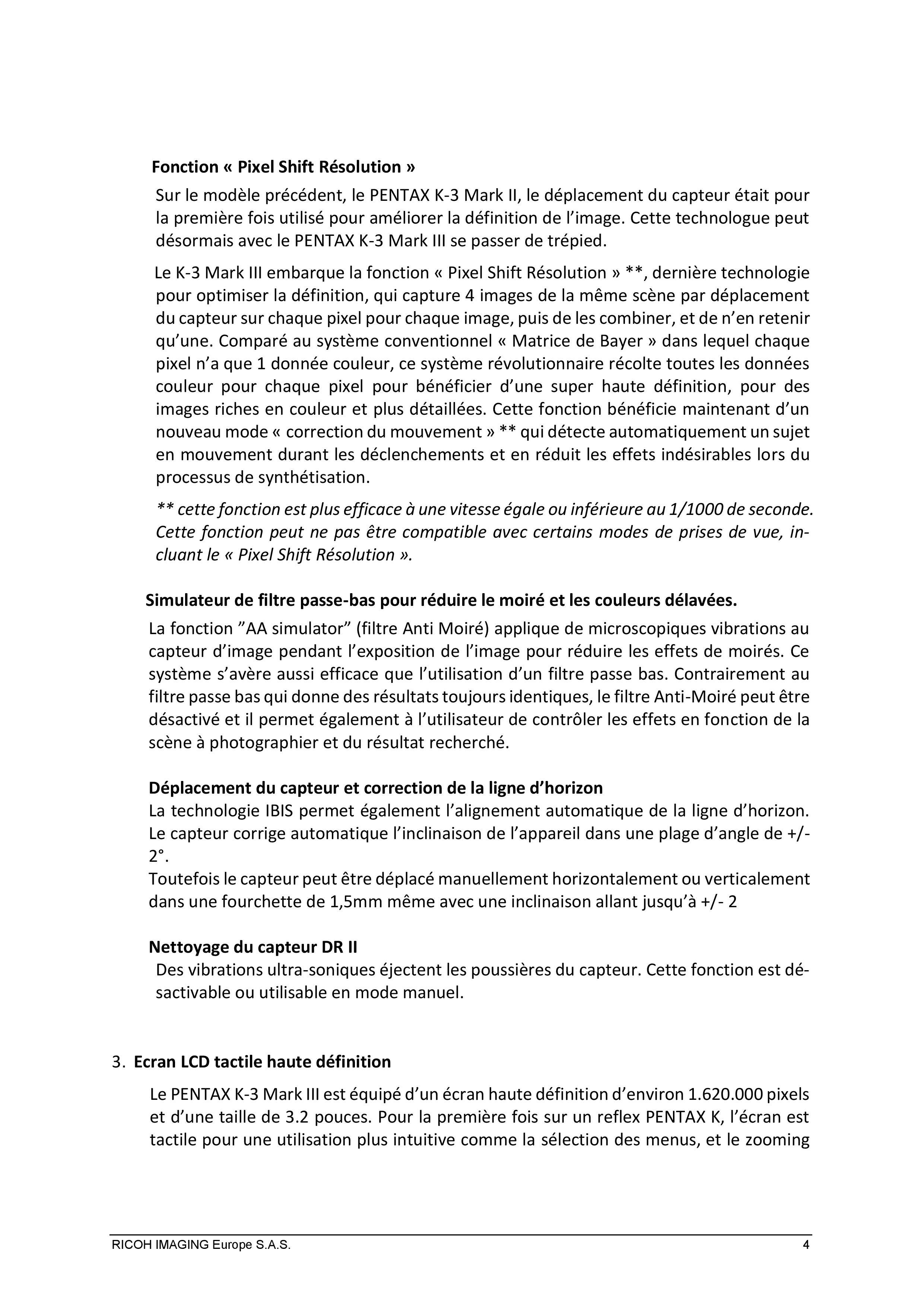 PENTAX RICOH IMAGING - Communiqué de presse du K3 Mark III 21033103141823142217344185