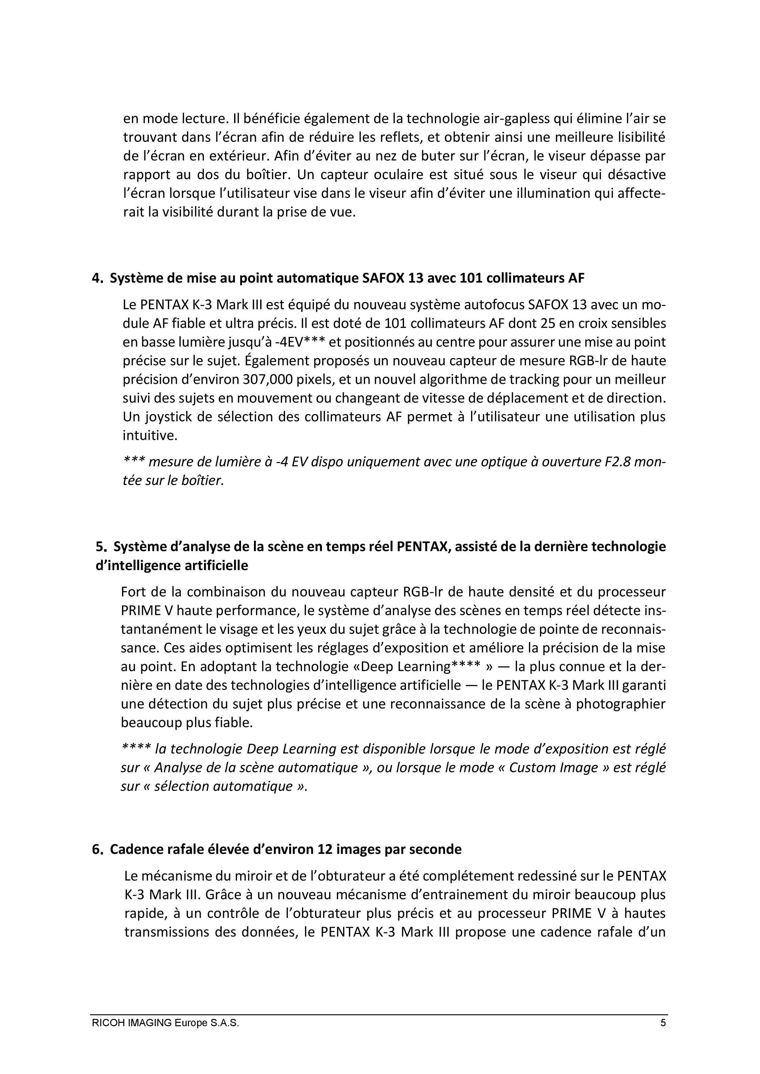 PENTAX RICOH IMAGING - Communiqué de presse du K3 Mark III 21033103143923142217344186