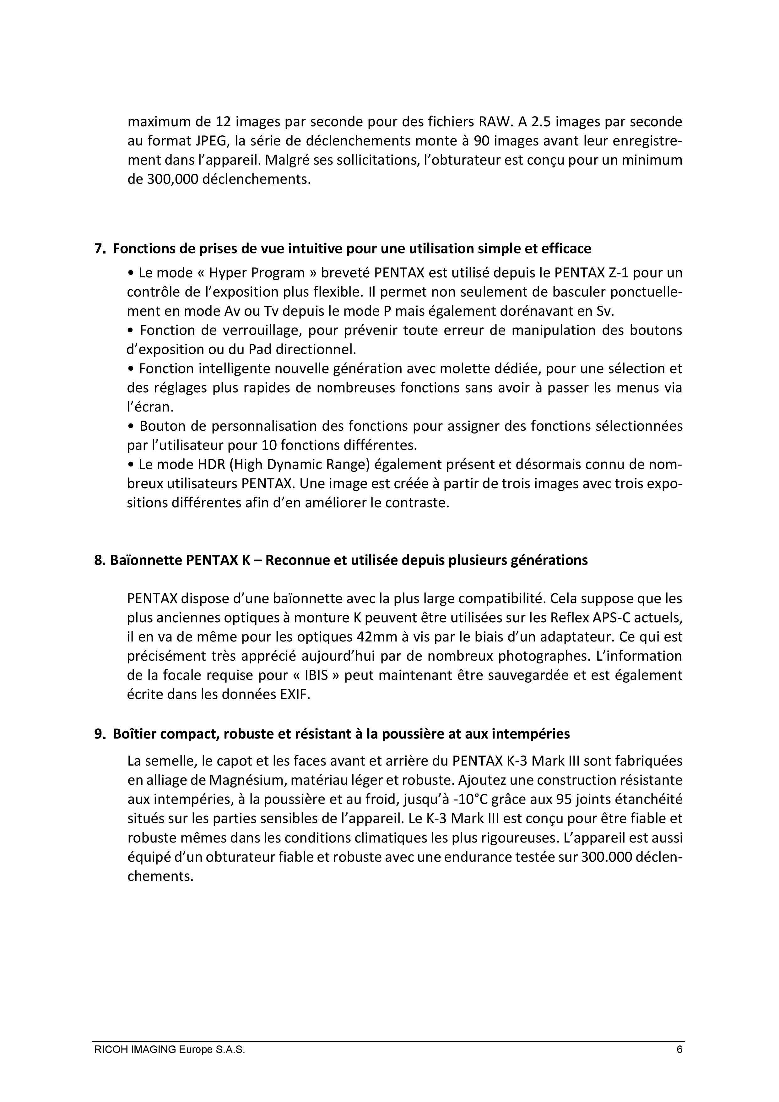 PENTAX RICOH IMAGING - Communiqué de presse du K3 Mark III 21033103151823142217344192