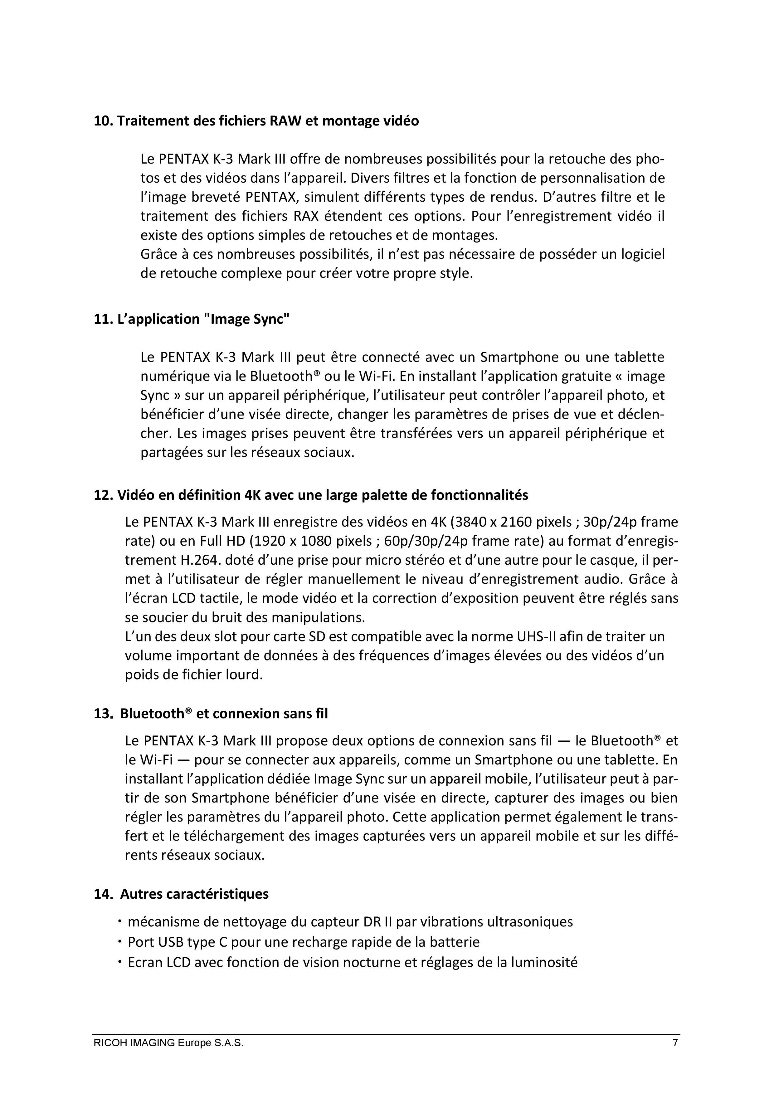 PENTAX RICOH IMAGING - Communiqué de presse du K3 Mark III 21033103153123142217344193