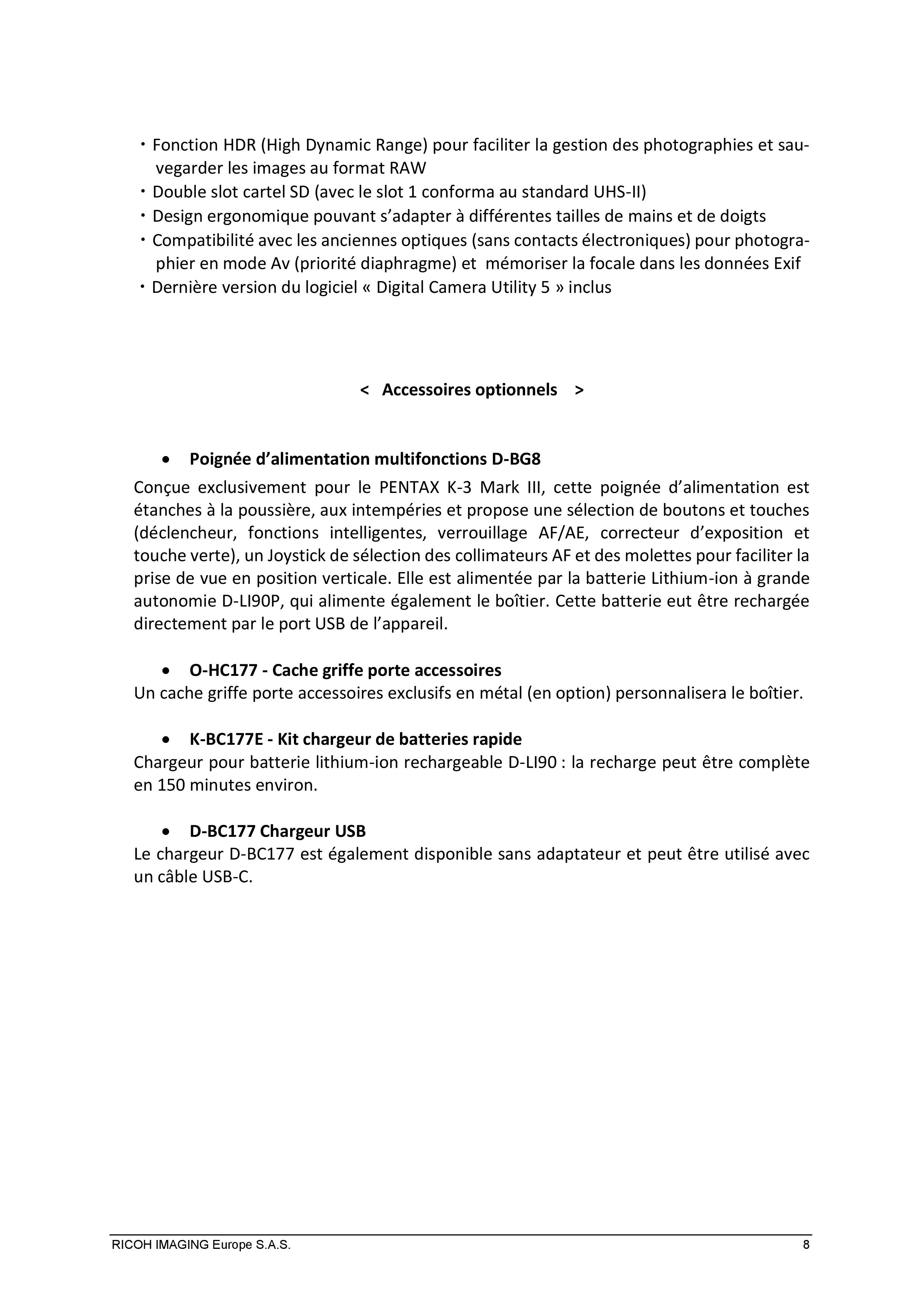 PENTAX RICOH IMAGING - Communiqué de presse du K3 Mark III 21033103154823142217344194