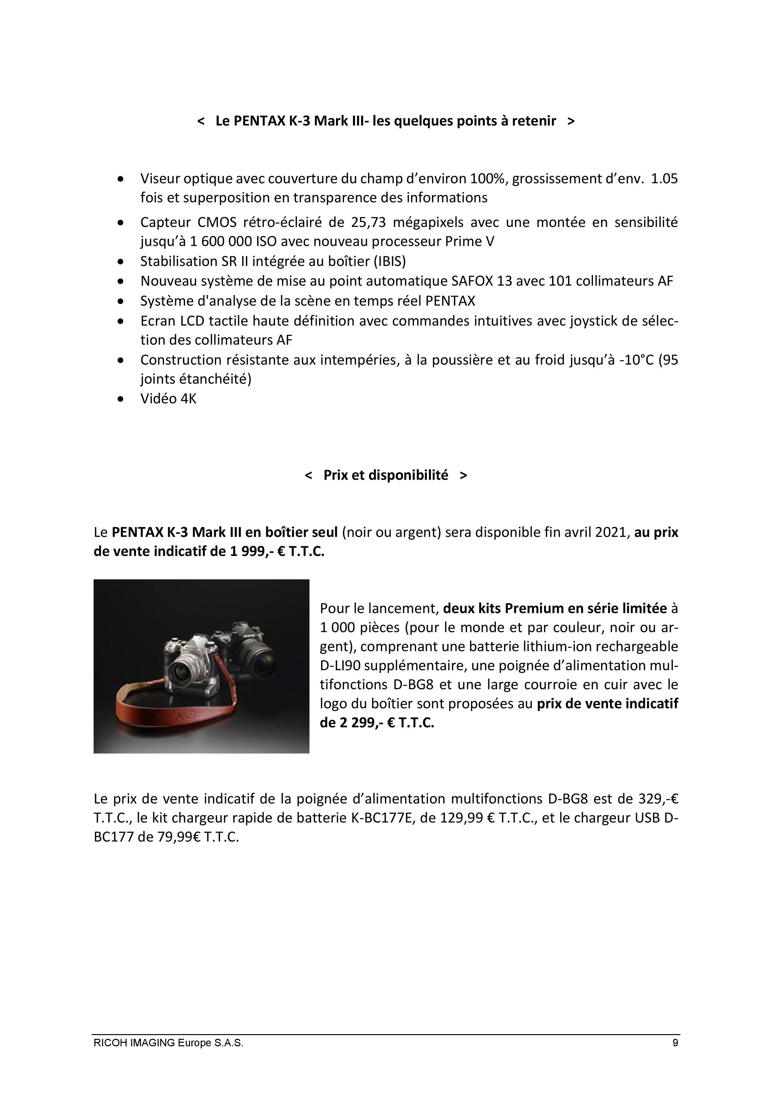 PENTAX RICOH IMAGING - Communiqué de presse du K3 Mark III 21033103160123142217344195