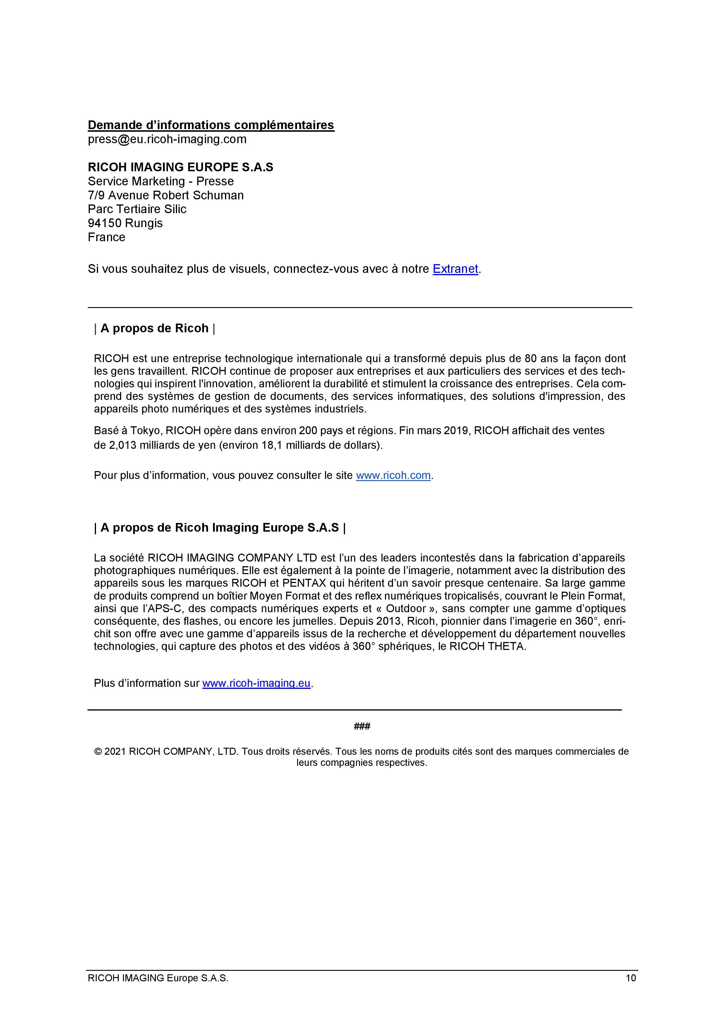 PENTAX RICOH IMAGING - Communiqué de presse du K3 Mark III 21033103161523142217344196