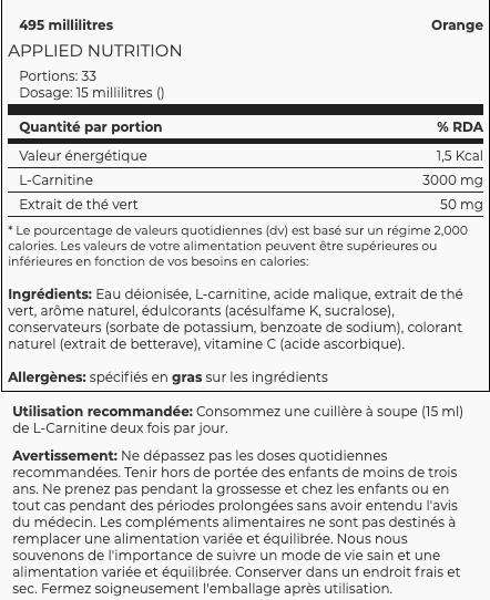 information nutritionnelles d ela carnitine  3000mg - 495ml d'applied nutrition